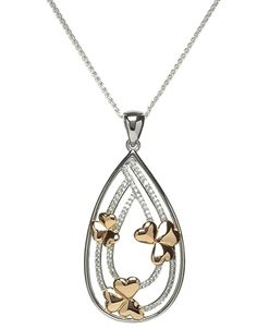 Sterling Silver Shamrock Pendant with CZ BP11