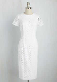 Eyelets in the Sky Dress. Give new appeal to a scenic drive by arriving at your stop in this LWD. #white #modcloth