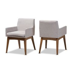 Set of 2 Nexus Mid Century Modern Walnut Wood Fabric Upholstered Dining Side Chair Light Gray - Baxton Studio Dining Arm Chair, Upholstered Dining Chairs, Dining Room Chairs, Dining Room Furniture, Side Chairs, Dinner Chairs, Chair Upholstery, Chair Cushions, Dining Table