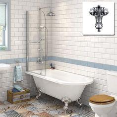 Victorian Bathroom Traditional Roll Top Bathtub & Shower Bath Glass Screen in Home, Furniture & DIY, Bath, Baths Traditional Bathroom, Bathtub Shower, Bathroom Makeover, Attic Bathroom, Victorian Bathroom, Bathroom Wall Tile, Bathroom Interior, Modern Bathroom, Clawfoot Tub