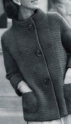 Knitted Coat Pattern, Knit Cardigan Pattern, Crochet Coat, Crochet Clothes, Crochet Granny, Beginner Knitting Patterns, Knitting Stitches, Sock Knitting, Vogue Knitting