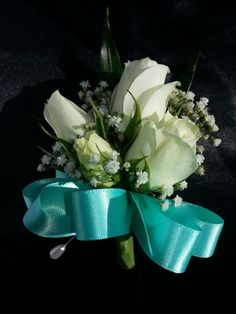 Pin on corsage for moms- Tiffany blue bow