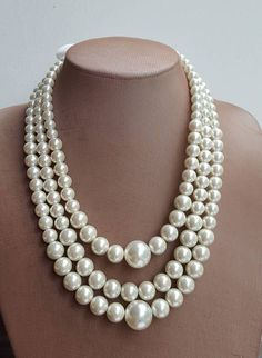 Multilayer large Pearl Statement Necklace Chunky Bridal
