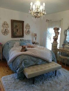 Shabby Chic bedroom by Corrabelle Rose French Cottage, Shabby Cottage, Cottage Living, Cottage Chic, Boudoir, Little Cottages, Romantic Shabby Chic, Dream Bedroom, My Favorite Color
