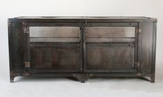Handmade scrap metal media cabinet tv stand console table by jreal, $1,595.00