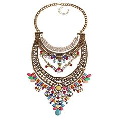 Women's Gold Multi-colored Vintage Bohemian Necklace
