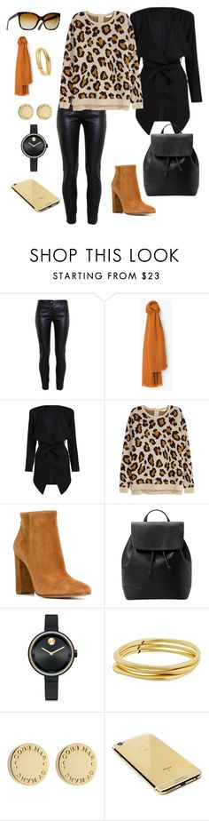 """""""Leopard and Black"""" by leonorc ❤ liked on Polyvore featuring Balenciaga, MANGO, H&M, Gianvito Rossi, Movado, Karen Kane, Marc by Marc Jacobs and Goldgenie"""