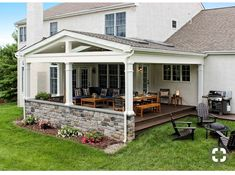 A well thought out design caters both to the eye and usability. With this porch, I can confidently say the return on investment is tenfold. Gaining nearly 400 additional square feet of newly usable sp Backyard Patio Designs, Backyard Landscaping, Backyard Porch Ideas, Easy Patio Ideas, Landscaping Ideas, Backyard Ideas For Kids, Sloped Backyard, Design Jardin, Garden Design