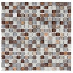 SomerTile Reflections Mini 5/8-in Tundra Glass/Stone Mosaic Tile (Pack of 10, 11.75 x 11.75 in.) | Overstock.com Shopping - The Best Deals o...