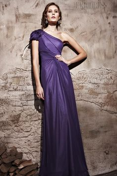 Brilliant Sheath/Column Floor-Length One-Shoulder Evening Dress