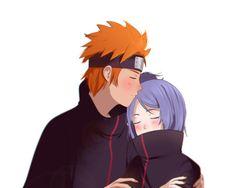 Yahiko and Konan. Anime Naruto, Naruto Cute, Naruto Shippuden Sasuke, Gaara, Naruto Family, Naruto Couples, Anime Couples, Akatsuki, Anime Rock