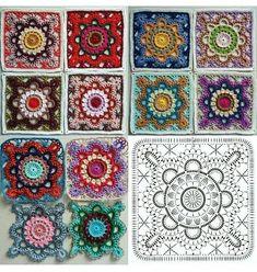 Crochet Bedspread Pattern, Crochet Motifs, Granny Square Crochet Pattern, Afghan Crochet Patterns, Crochet Squares, Crochet Granny, Crochet Doilies, Crochet Flowers, Crochet Stitches