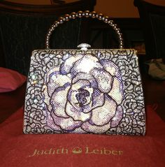 Judith Leiber Handbag (Swarovski Crystal Multi Colored Purple Flower Evening Bag, Pre-owned Designer Hand Bags)