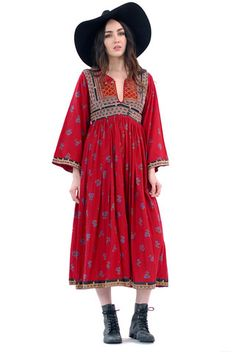 Ruby Embroidered Calico Native Dress | Spanish Moss