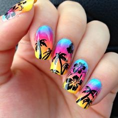 Different Wonderful Gel Nail Art Designs for Summer - Fashion Hawaiian Nail Art, Galeries D'art D'ongles, Cruise Nails, Sunset Nails, Palm Tree Nails, Summer Gel Nails, Gel Nail Art Designs, Nails Design, Gel Nagel Design