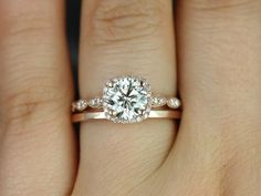 Christie 6.5mm & Plain Barra 14kt Gold FB Moissanite and Diamond WITH Milgrain Wedding Set (Other metals and stone options available)