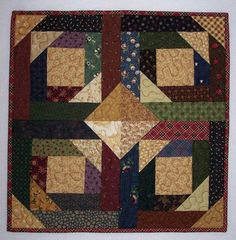 Pineapple Log Cabin Patchwork Quilt Wall Hanging in Thimbleberries Quilted