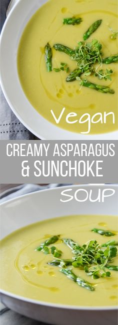 This Creamy Asparagus Sunchoke Soup recipe is a healthy, delicious, vegan appetizer or light main course with a salad and crusty bread! Seafood Recipes, Soup Recipes, Vegetarian Recipes, Cooking Recipes, Healthy Recipes, Hotdish Recipes, Recipies, Lasagna Recipes, Healthy Soups