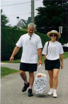 Caroline with her husband  ( the pink socks made me lol  )