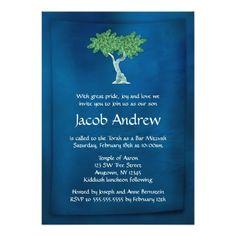 "Blue Green Tree of Life Bar Mitzvah Invitations 5"" X 7"" Invitation Card"