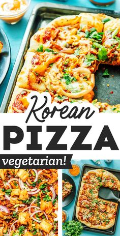 """Level up your pizza night with an Asian-inspired twist! This Korean Pizza recipe has all the fixin's - BBQ pulled """"pork"""", kimchi, and a gochujang tomato sauce (topped off with kimchi mayo for good measure!) #pizza #korean #kimchi #vegetarian Vegetarian Pizza, Vegetarian Barbecue, Best Vegetarian Recipes, Asian Recipes, Healthy Recipes, Pizza Recipes, Dinner Recipes, Lucky Food, Korean Kimchi"""