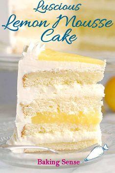 Luscious Lemon Mousse Cake - Layer cake perfection Luscious lemon mousse cake might be the perfect layer cake. Lemon cake with Limoncello syrup, zesty lemon curd and creamy lemon mousse. Lemon Dessert Recipes, Köstliche Desserts, Lemon Recipes, Sweet Recipes, Delicious Desserts, Layer Cake Recipes, Frosting Recipes, Lemon Mousse Cake, Lemon Layer Cakes