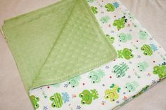 Green Minky and Frog Flannel Baby Blanket by fabfotos on Etsy, $45.00