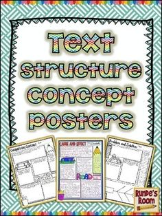 Text Structure Concept Posters - two different posters and graphic organizers for each text structure.$