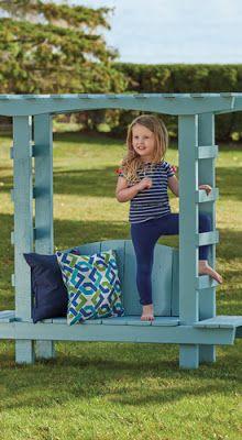 Ah! E se falando em madeira...: banco coberto para jardim para   criança, como fazer no blog