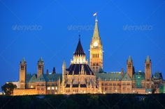 Ottawa at night ...  Clock Tower, Parliament Hill, architecture, bell tower, building, buildings, canada, canadian, capital, city, color, colorful, downtown, dusk, exterior, government, historic, landmark, landscape, library, monument, old, ontario, ottawa, outdoors, panorama, park, peace, politics, quebec, roof, sky, skyline, tall, trees, urban