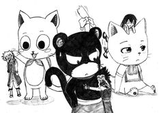 Happy/Natsu, Carla/Wendy and Panther lilly/Gajeel (Fairy Tail)