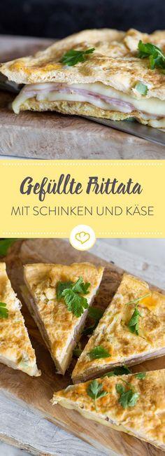 Diese köstliche Frittata wird mit Schinken und Käse gefüllt, ist ganz schnell zubereitet und perfekt um deinen Feierabend Hunger zu stillen.