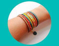 Collection été : bracelet manchette brésilien multirang : Bracelet par mademoiselle-cachou