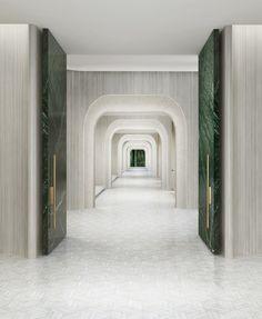 Symetry marble green doors , cream/white interior corridor Source by Hotel Corridor, Hotel Door, Lobby Interior, Luxury Interior, Resort Interior, Marble Interior, Contemporary Interior, Architecture Details, Interior Architecture