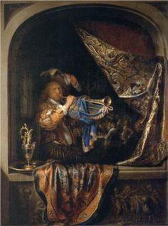Gerrit Dou, trompetspeler voor een banket, 1665, olieverf op paneel, 38 x 29 cm.