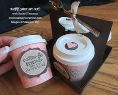 Adorable Mini Coffee/Tea Taster Cups with Container that holds FOUR & matching card! Tutorial here. Stampin' Up!® - Stamp Your Art Out! www.stampyourartout.com