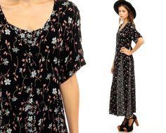 90s Midi Dress Black Floral Grunge Print Button Up by ShopExile