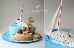 Sailboat & couple on an island of Cake!