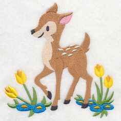 Fawn Frolicking in Flowers Free from Embroidery Library in June 2014. Comes in two sizes.