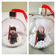 Harry-Potter-amp-Hermione-Grainger-Lego-Snowy-Bauble-x2-Christmas-Tree-Decorations