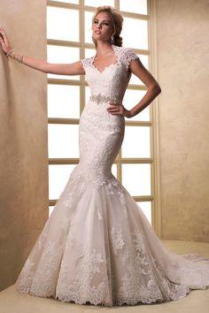2013 Wedding Dresses Trumpet/Mermaid Court Train With Applique Tulle USD 289.99 EPPL6MFF5Y - ElleProm.com