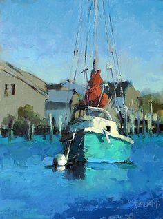 The Green Boat by Trisha Adams Oil ~ 16 x 12 Selling Paintings, Paintings I Love, Seascape Paintings, Oil Painting Abstract, Beautiful Paintings, Landscape Paintings, Boat Art, Boat Painting, Nautical Art