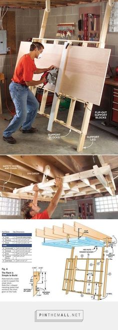 Fold-Down Cutting Rack #woodworkingideas #woodworkingbench #woodworkingtools