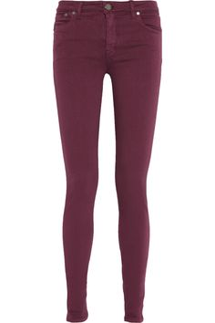 Victoria Beckham Denim|Power mid-rise skinny jeans Victoria Beckham Jeans, Jerome Dreyfuss, Mid Rise Skinny Jeans, Military Jacket, Burgundy, Denim, My Style, Casual, How To Wear