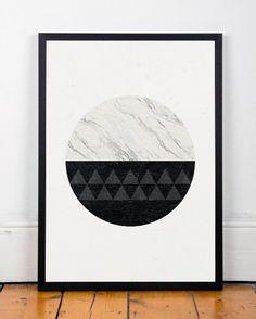 Minimalist print, Marble print, Geometric art, Circle print, Black and white, Home art, Modern art, Minimal art, Nordic style, Marble decor