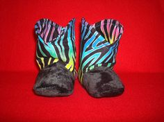 Multi-Colored Zebra striped Baby Boots by RusticAttitude on Etsy