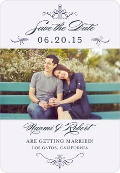 Save the Date Magnet Ornate Engagement:Twilight