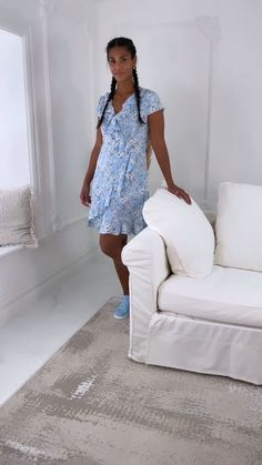 blue wrap dress, summer dress, wrap dress, blue outfit, outfit of the day, new arrivals, online fashion, online shop Frill Dress, Wrap Dress, White Skirts, Mini Skirts, Ditsy, Dress Summer, Cap Sleeves, Outfit Of The Day, Fashion Online