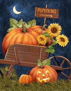 Fall print, jackolantern, Halloween, Sunflowers, Moon,