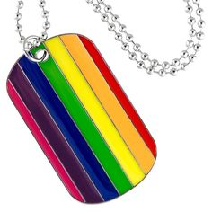 413f3346eb Gay Pride Dog Tag Pendant with Fashion Beaded Necklace #aabstyle #jewelry # rainbow #